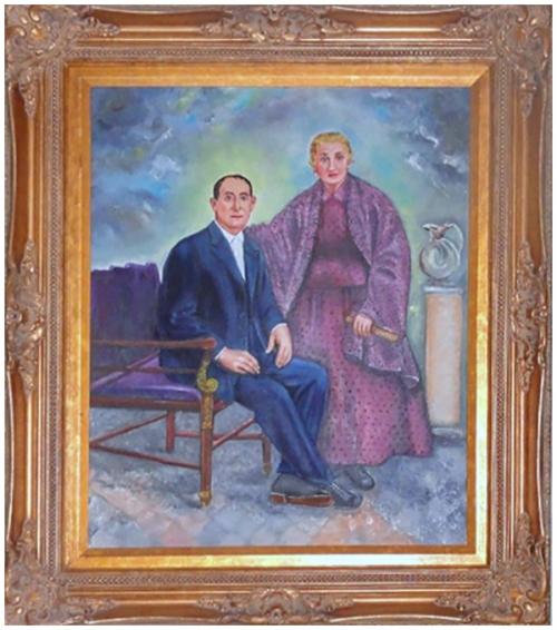 Abuelos sentados en un cuadro herencia